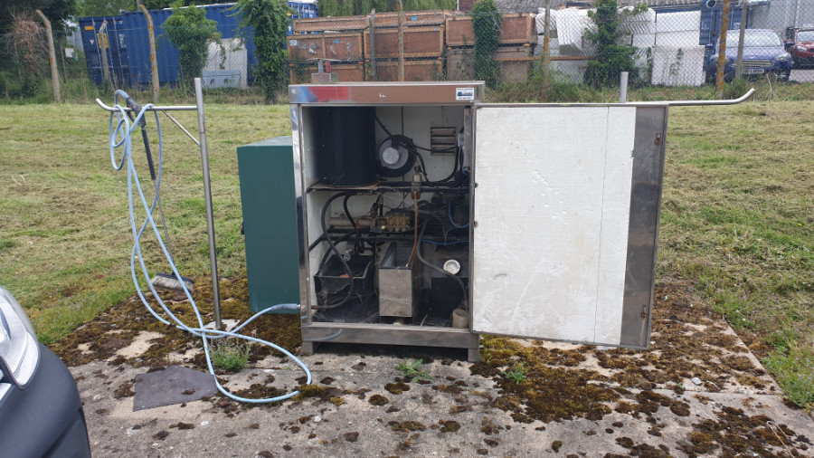 Static Hot Pressure Washer Before Overhaul & Hose Reels